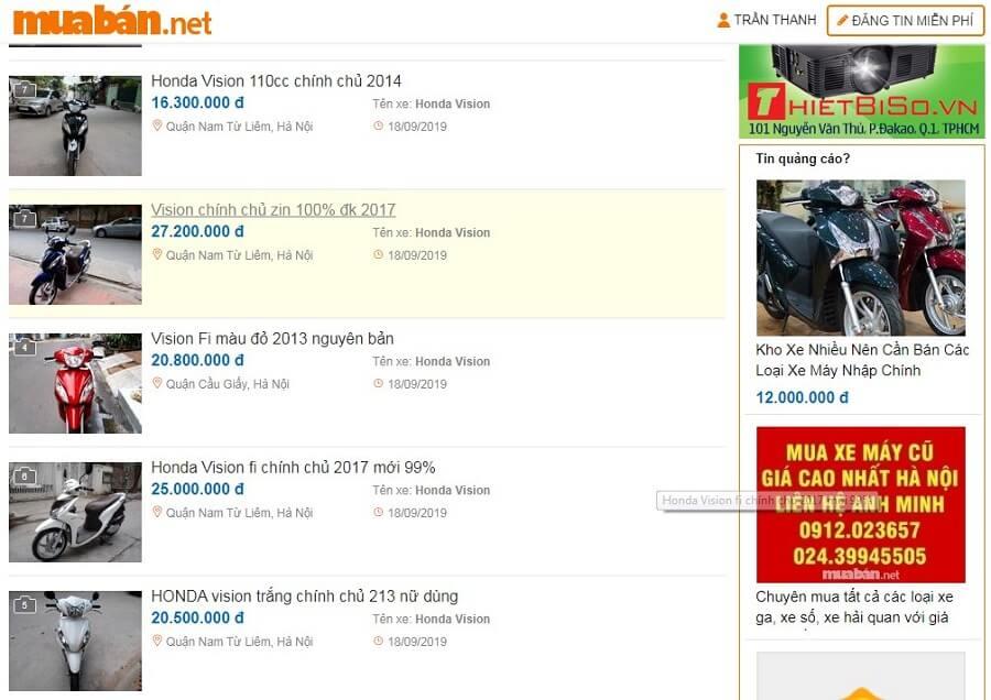 Tại muaban.net có rất nhiều mẫu xe Vision cũ thuộc nhiều đời xe khác nhau để bạn lựa chọn.
