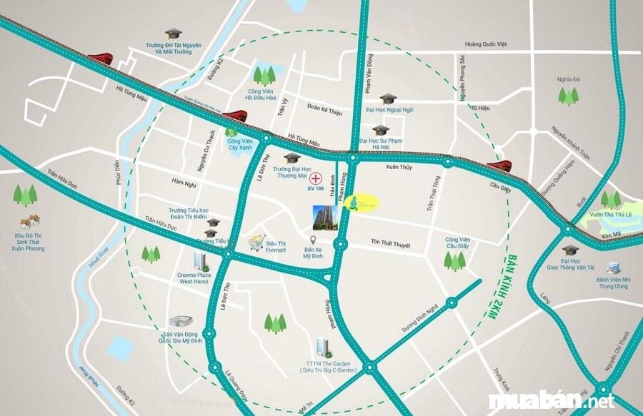 Từ dự án, cư dân dễ dàng kết nối các tới các địa điểm trung tâm mới của Hà Nội