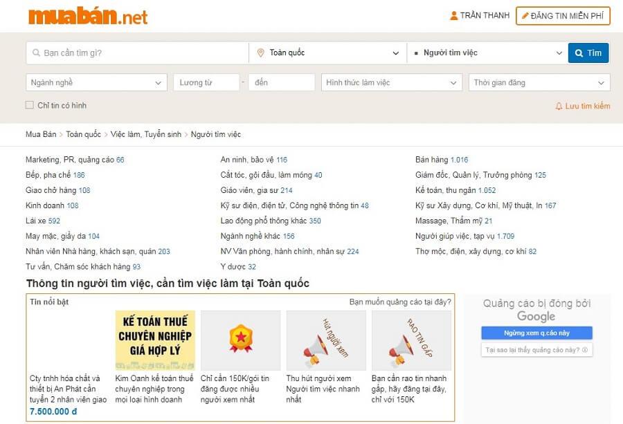 Nên tìm việc làm tại các trang web tìm việc uy tín như muaban.net…để hạn chế rủi ro.
