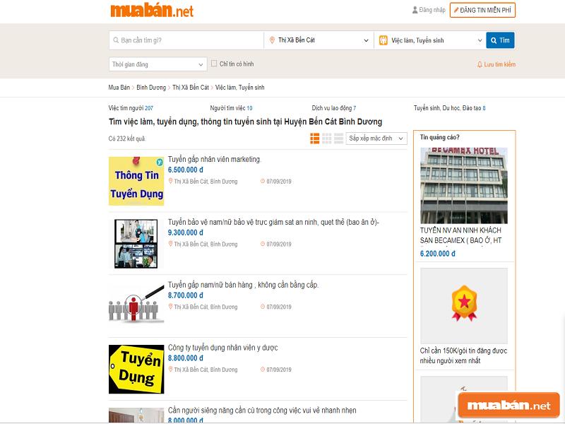 Cùng tìm việc làm thêm tại Bến Cát Bình Dương với Muaban.net nhé