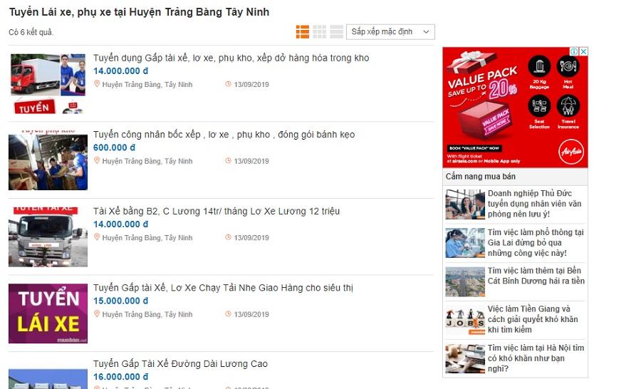 Hãy tham khảo ngay website muaban.net, với các thông tin tuyển dụng tài xế mới nhất.