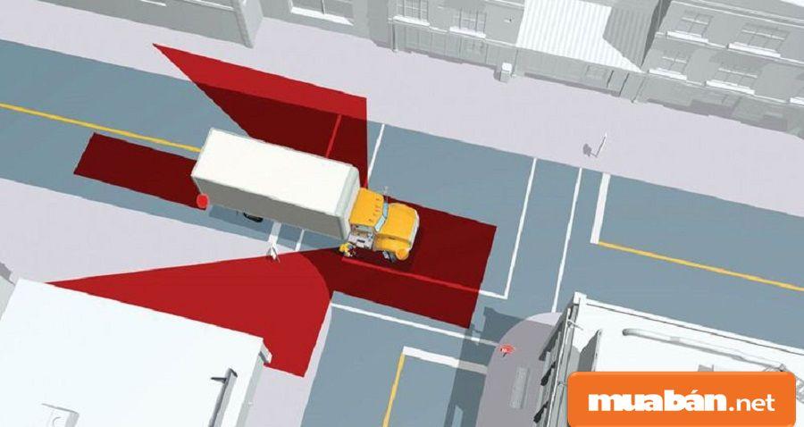 Bạn nên tìm hiểu những khu vực điểm mù của các xe lớn để tránh tai nạn.