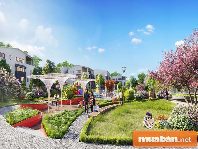 Công vườn cây xanh, vườn thư giãn tuyệt đẹp là điểm nhấn của dự án