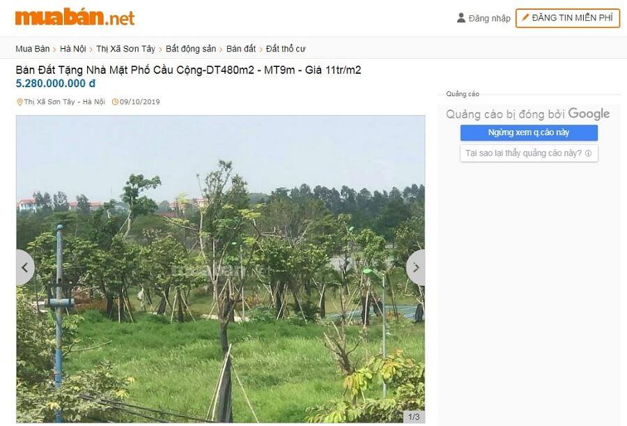 Bán đất tặng nhà mặt phố Cầu Cộng - DT 480m2 - MT 9m - Giá 11 triệu/m2