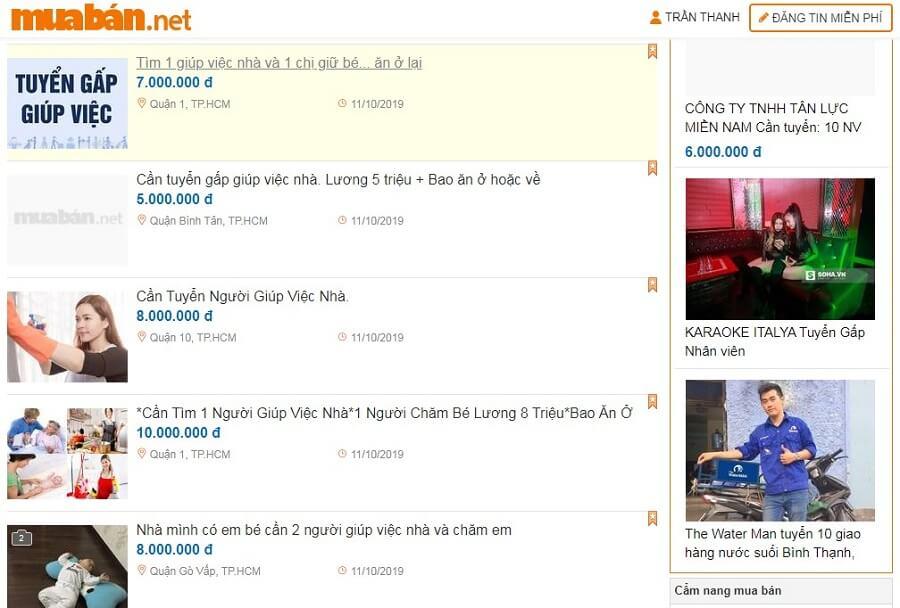 Bạn nên liên hệ với những trang chuyên đăng tin việc làm uy tín như muaban.net. Để đăng tin tuyển tạp vụ công ty hoặc giúp việc nhà tại đây.