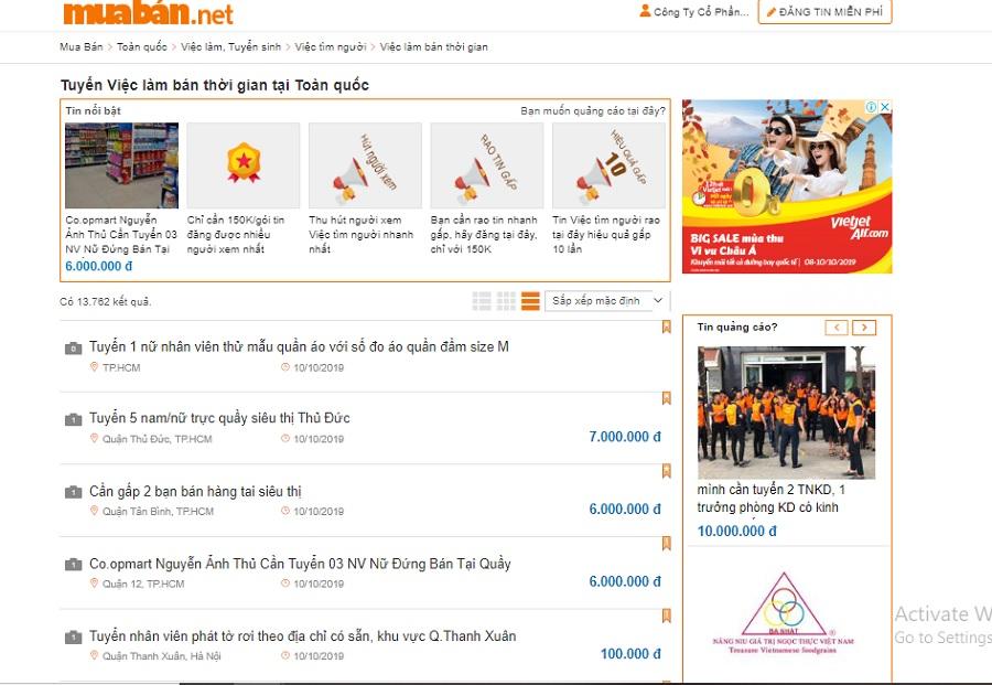 Website muaban.net có hàng trăm tin tuyển dụng, tìm việc mỗi ngày cho bạn tham khảo.