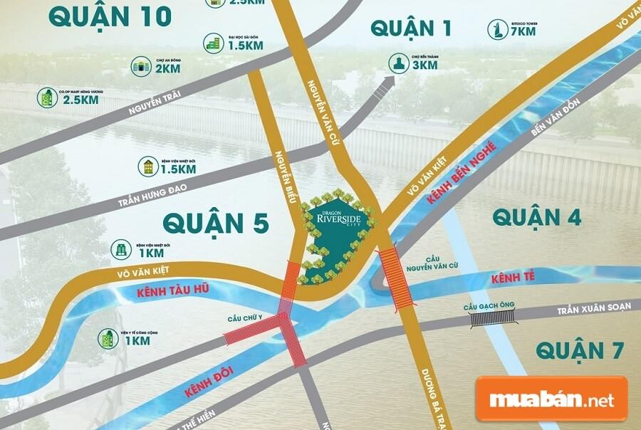 Dự án Dragon Riverside City tọa lạc tại 628 – 630 Võ Văn Kiệt, phường 1, quận 5, TP. HCM.