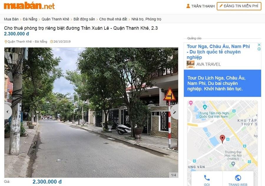 Cho thuê phòng trọ riêng biệt đường Trần Xuân Lê - Quận Thanh Khê