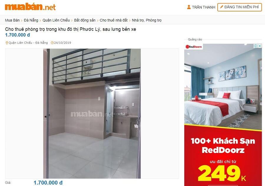 Cho thuê phòng trọ Đà Nẵng trong khu đô thị Phước Lý, sau lưng bến xe