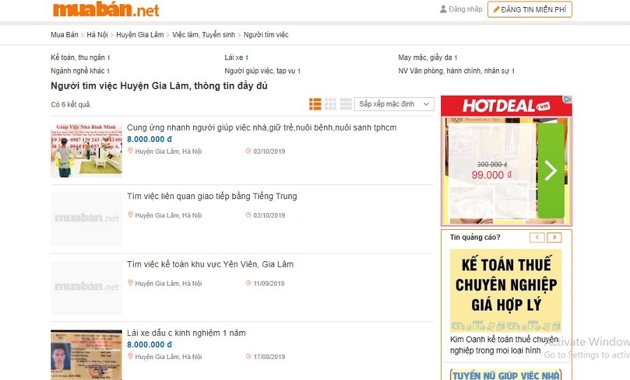 Bạn có thể tham khảo thông tin tìm việc ở muaban.net.