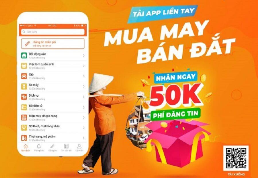Khách hàng sẽ được tặng mã thưởng trị giá 50.000 đ khi cài đặt ap Mua Bán hoặc update phiên bản mới.