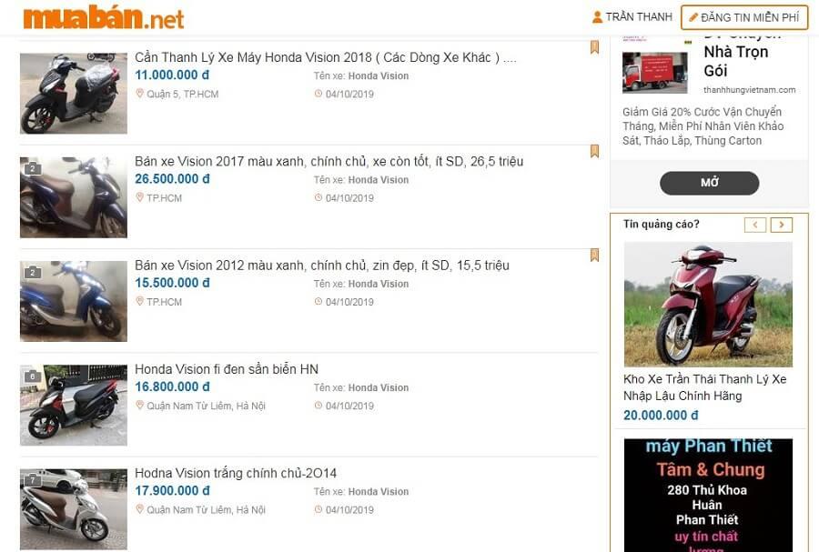 Lướt một vòng trên muaban.net bạn sẽ tìm thấy rất nhiều mẫu xe Vision cũ.