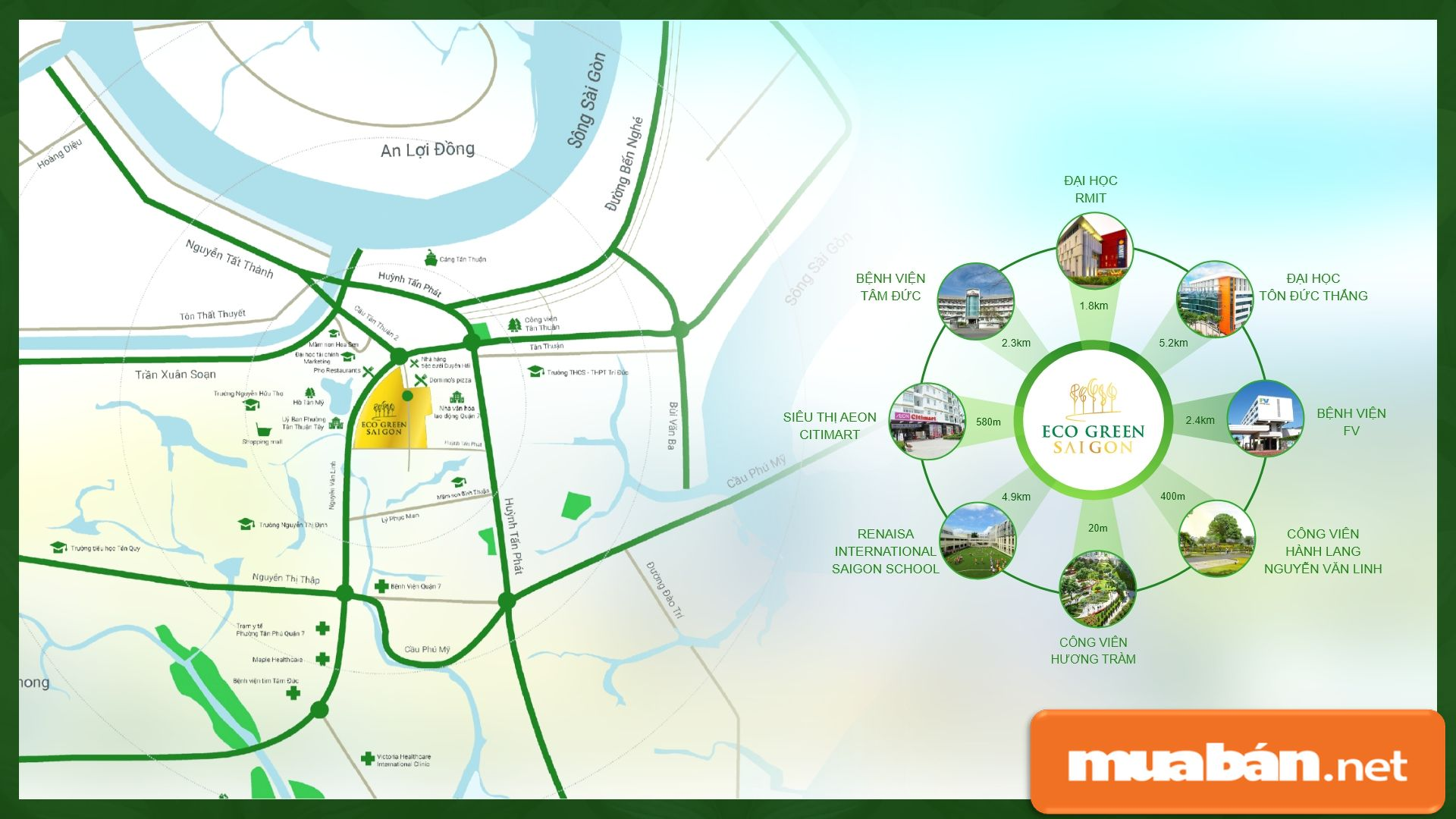 Từ vị trí dự án rất dễ dàng di chuyển đến các quận, khu vực lân cận như quận 1, 4, 5...