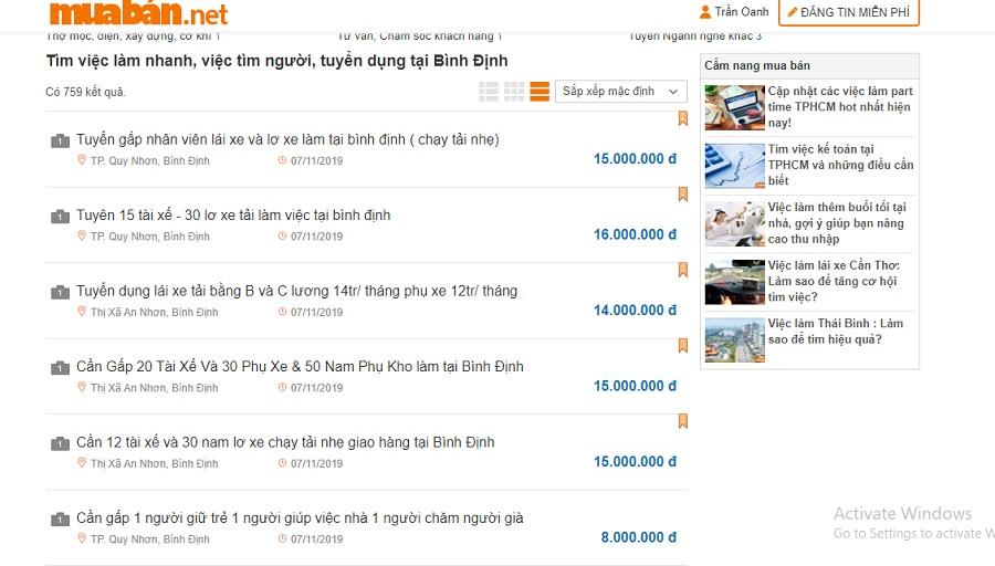 Tìm việc làm tại Bình Định – Update hàng ngày trên muaban.net.