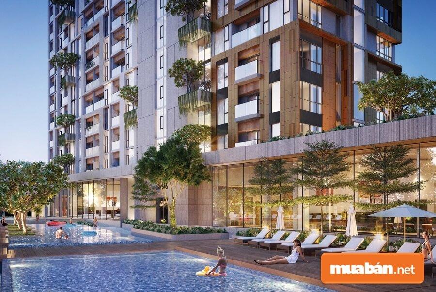 Bể bơi vô cực trên tầng 37 của tòa tháp đôi Cocobay Tower khu vực Spa Center rộng hơn 3,000 m2.