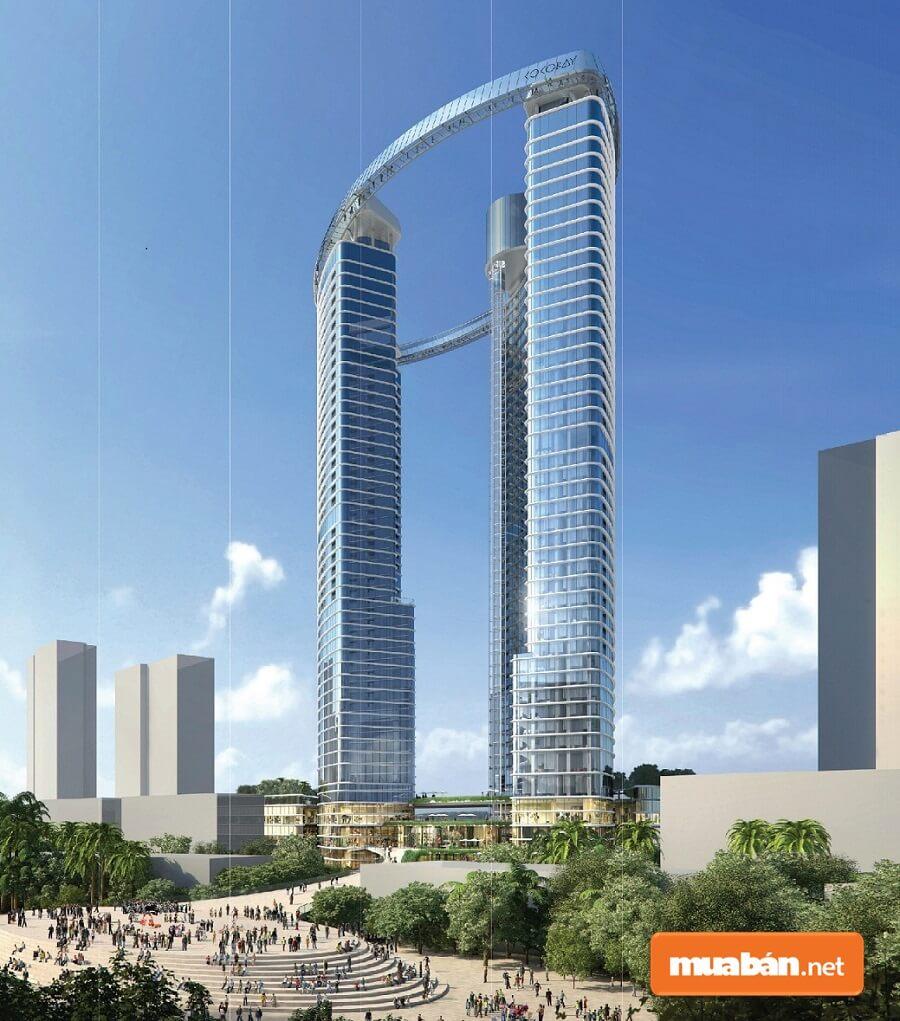 Cocobay Towers như một viên ngọc tuyệt mỹ nổi bật giữa khung cảnh nên thơ của biển trời Đà Nẵng.