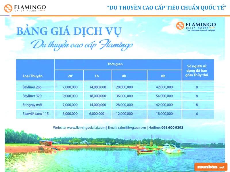 Bảng giá thuê dịch vụ du thuyền Flamingo Đại Lải Vĩnh Phúc