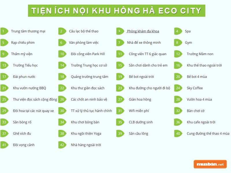 Tiện ích của khu đô thị mới Hồng Hà Eco City
