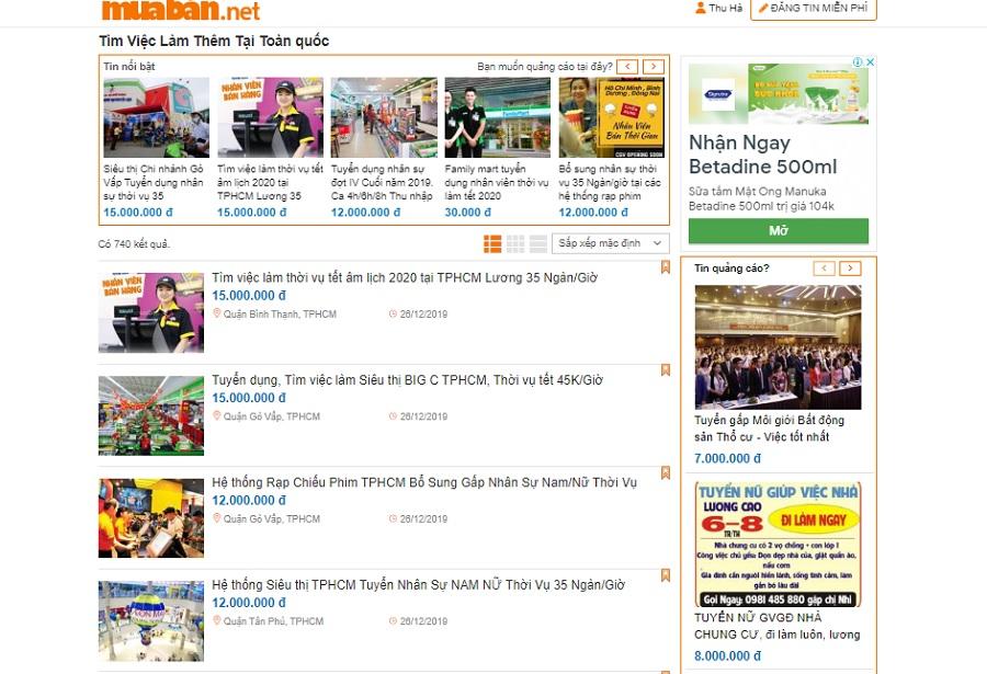 Muaban.net là một trong những website có nhiều thông tin tuyển dụng mới nhất.