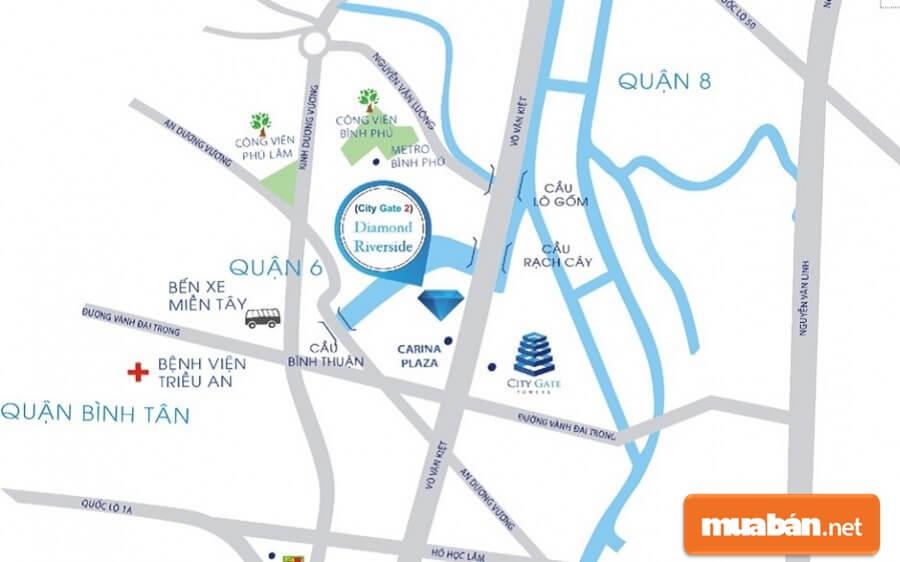 Dự án Diamond Riverside (City Gate 2) toạ lạc ngay mặt tiền Đại lộ Võ Văn Kiệt quận 8