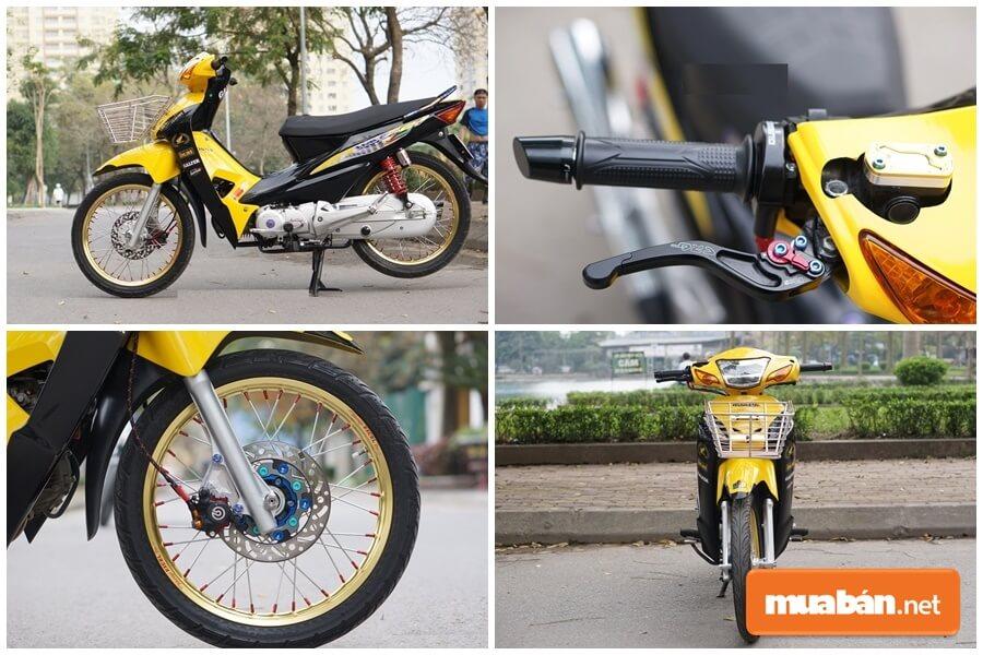 Honda Wave S 100 đời 2006 độ màu vàng cực đẹp ở Hà Nội