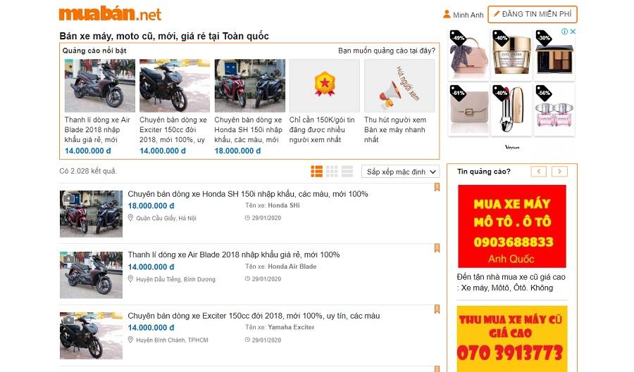 Bạn có thể tham khảo các thông tin mua bán xe trên muaban.net.