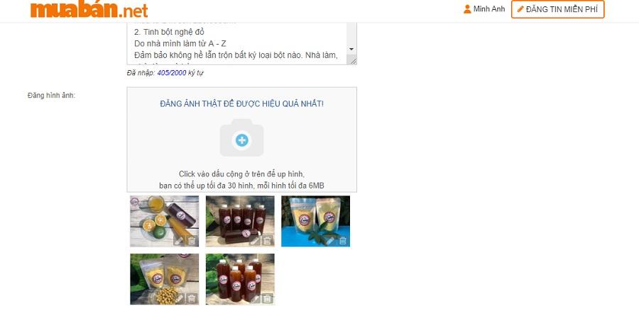 Website sẽ hỗ trợ bạn đăng hình ảnh minh họa lên đến 30 hình ảnh khác nhau.