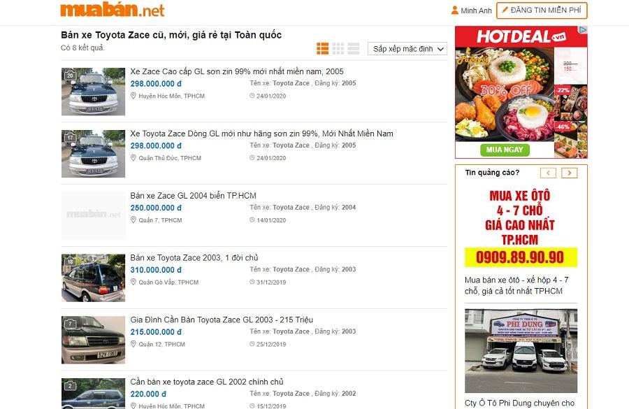 Muaban.net là website chuyên về các thông tin mua bán xe ô tô cũ mới khác nhau.