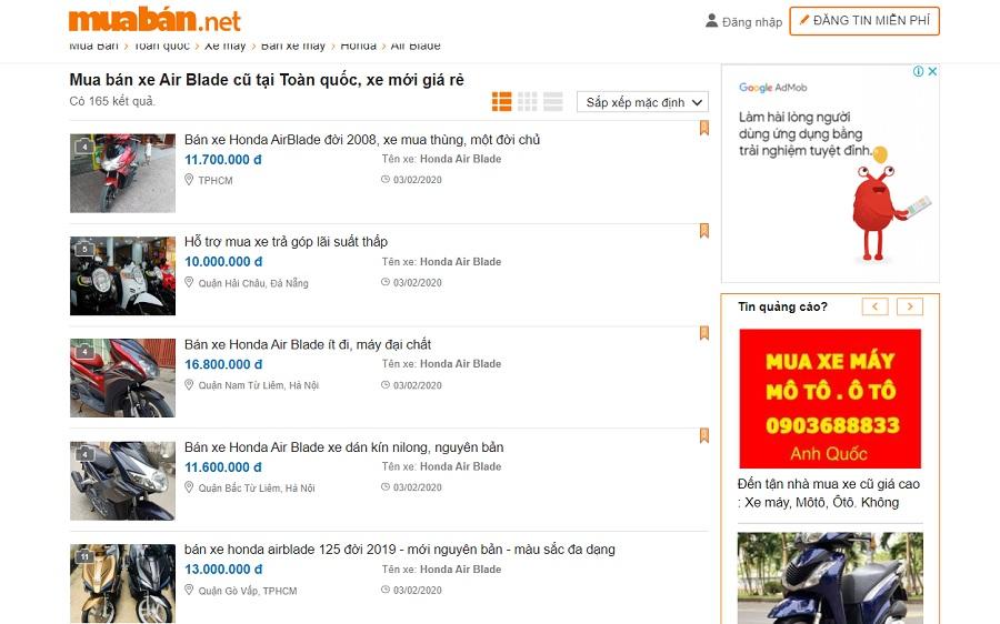 Bạn có thể tham khảo các thông tin bán xe có trên muaban.net.