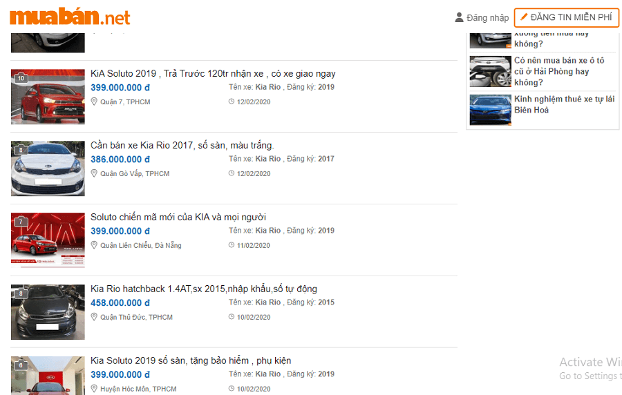 Giá xe Kia Rio 2017 cũ đang được rao bán trên muaban.net với giá cực kì hấp dẫn, chỉ từ hơn 300 triệu đồng.