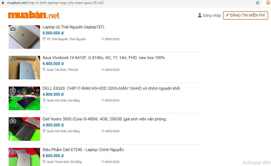 Muaban.net - địa chỉ hoàn hảo để mua laptop cũ giá tốt.