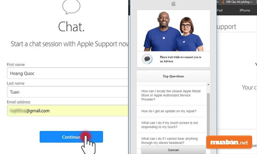 Hãy chọn mục Chat, sau đó điền thông tin cơ bản rồi nhấn Continue