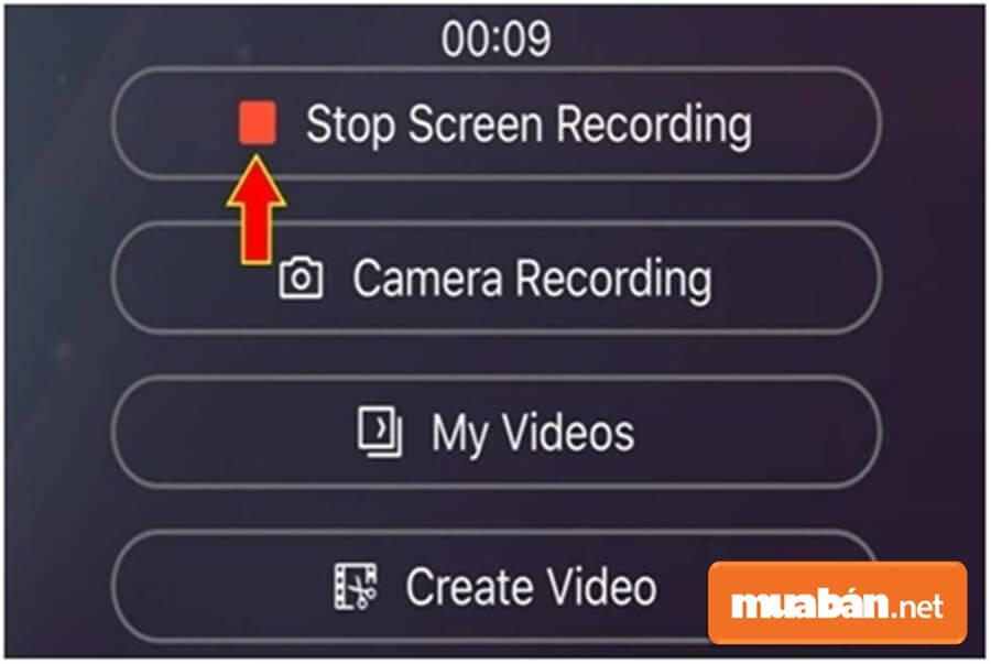 Để kết thúc hoạt động, bạn chọn Stop Screen Recording
