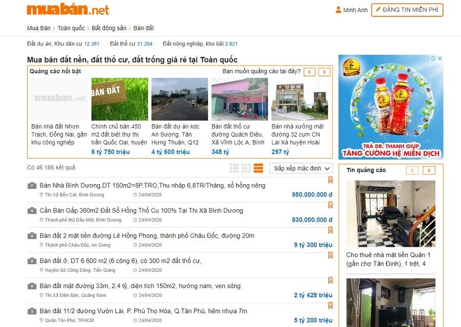 Bạn hãy tham khảo bất động sản ở một số website bất động sản như muaban.net.