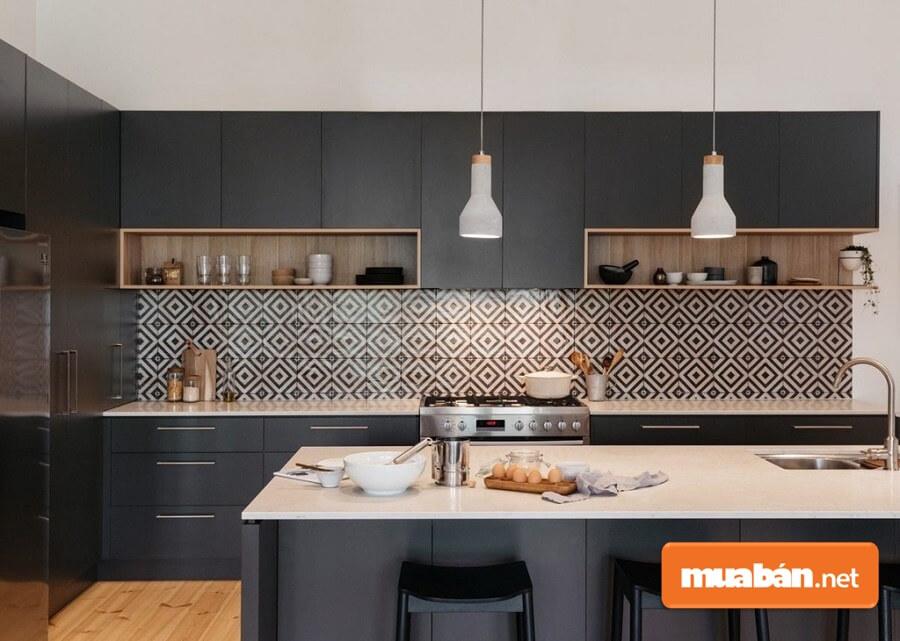 Mẫu phòng bếp đẹp, hiện đại và ấn tượng với gạch ốp họa tiết hình học