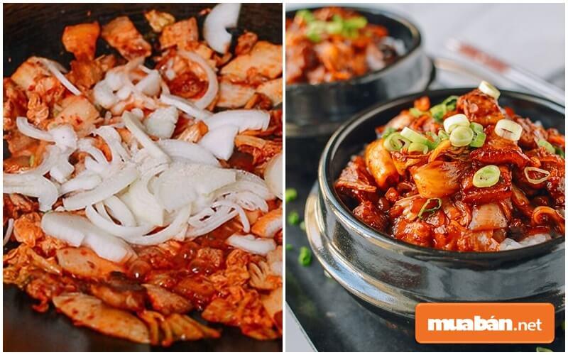 Món thịt lợn xào kim chi mang đậm phong cách ẩm thực Hàn Quốc được nhiều người ưa chuộng.