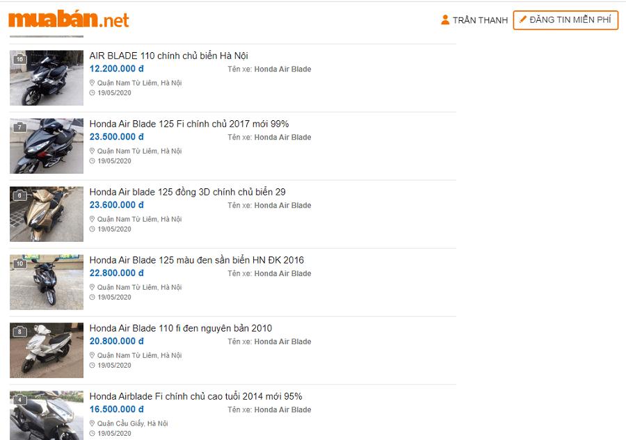 Truy cập muaban.net bạn sẽ nắm lấy cơ hội sở hữu một chiếc xe Air Blade giá tốt nhất