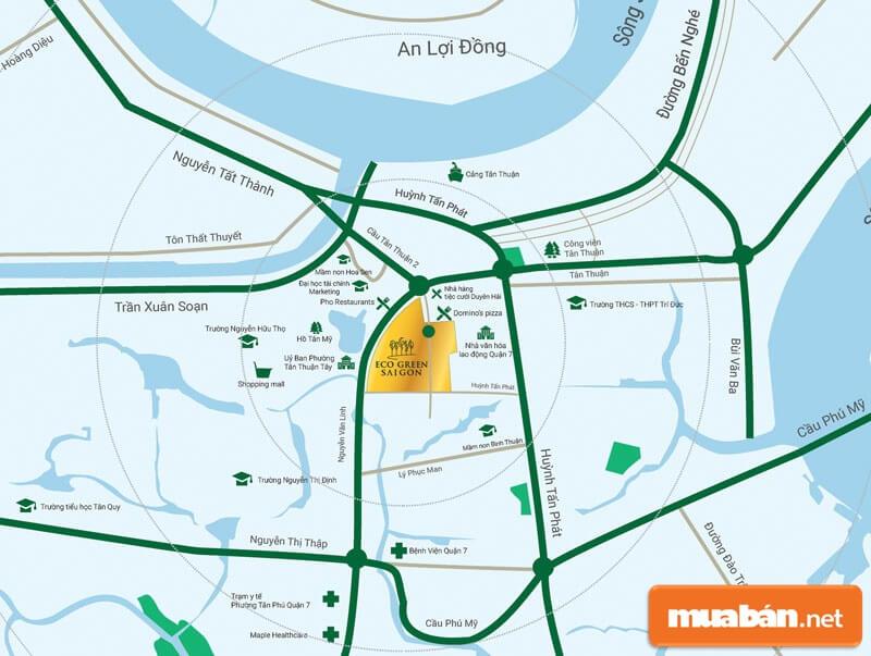 Dự án Eco Green Sài Gòn tọa lạc tại 39/8B Nguyễn Văn Linh, Phường Tân Thuận Tây, Quận 7.