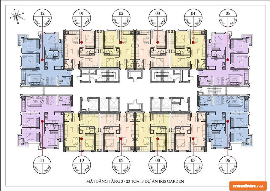 Diện tích các căn hộ dao động từ khoảng 60m2 đến 130m2 với 2 đến 3 phòng ngủ.