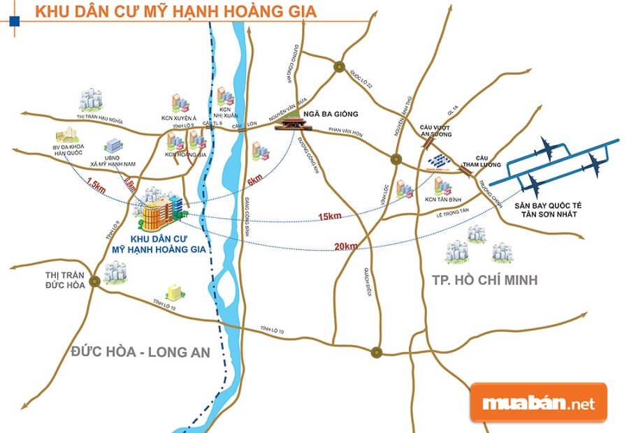 Tọa lạc tại Ấp Mới II, xã Mỹ Hạnh, huyện Đức Hòa tỉnh Long An KDC Mỹ Hạnh Hoàng Gia chiếm vị trí đắc địa.