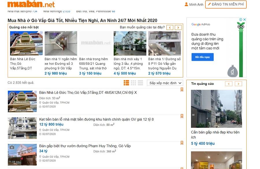 Bạn không nên bỏ qua những website chuyên về bất động sản như muaban.net…