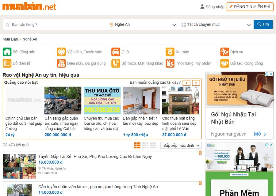 Thay vì đăng tin tràn lan tốn công sức, thời gian vàng bạc. Bạn cần chọn lọc những địa điểm, chợ rao vặt Nghệ An uy tín như: Muaban.net.