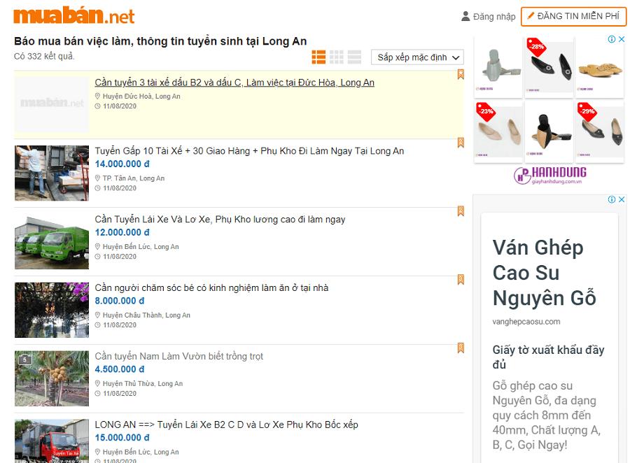 Muaban.net không chỉ là nơi mà rất đông người tìm việc truy cập tìm việc làm Long An.