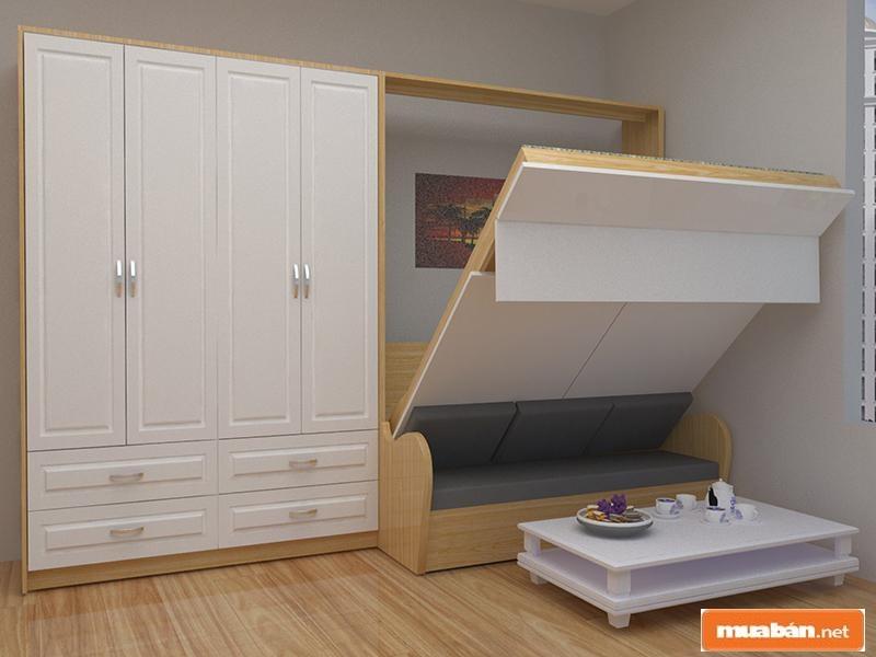 Giường gấp thông minh tích hợp tủ đa năng cũng là lựa chọn được nhiều người dùng yêu thích