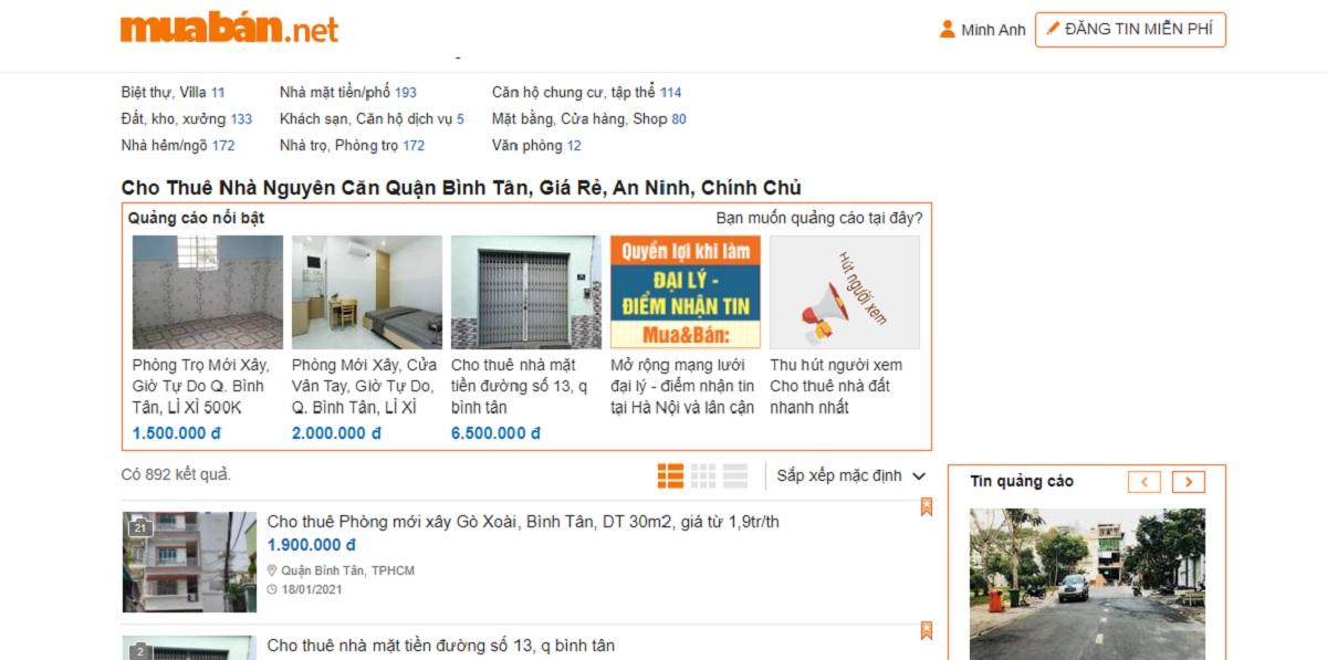 Nhà cho thuê quận Bình Tân giá 3-5tr