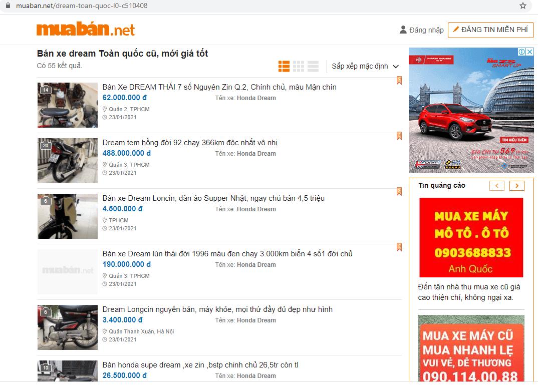 Nếu bạn cũng đang tìm mua xe Dream Thái cũ thì ngay hôm nay hãy truy cập Muaban.net nhé.
