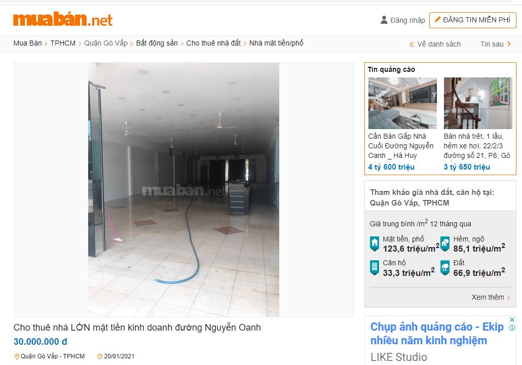 Cho thuê nhà LỚN mặt tiền kinh doanh đường Nguyễn Oanh