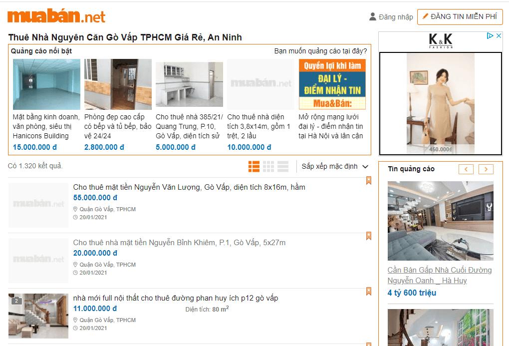 Tìm thuê mặt bằng nhà phố 5m nhanh, uy tín ghé ngay muaban.net