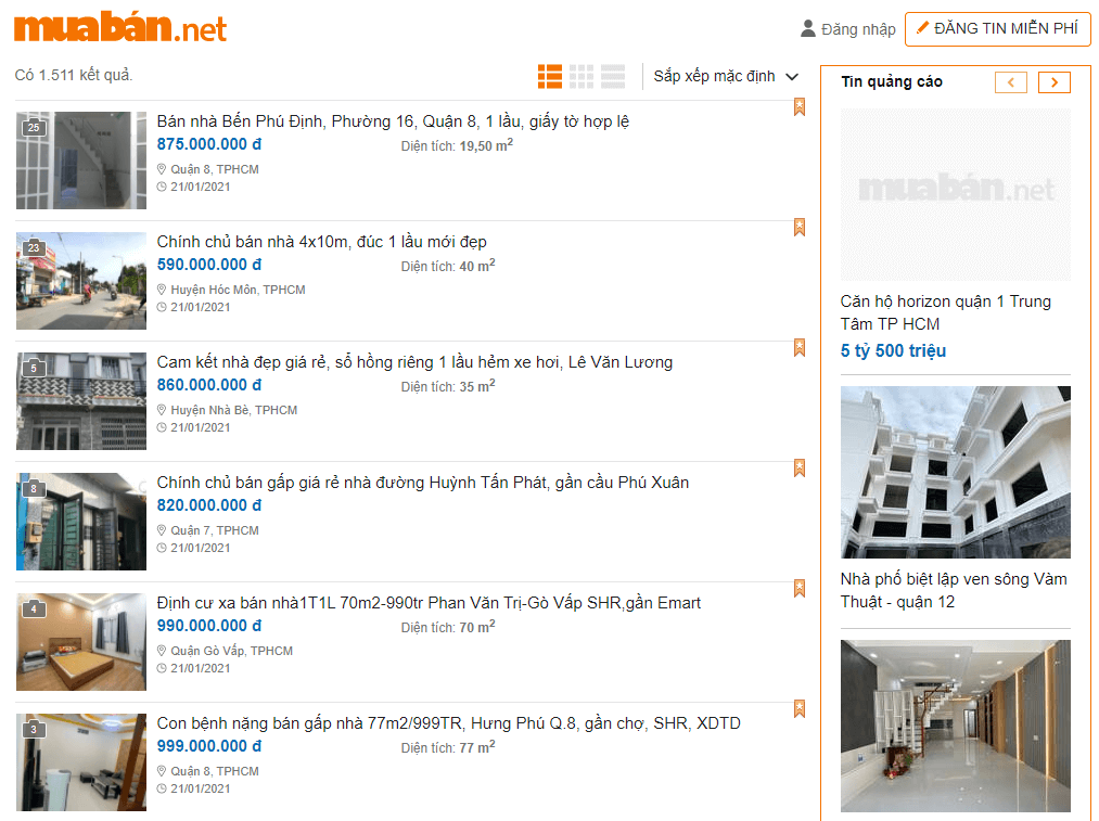 Nhiều Cơ Hội Mua Nhà Giá Rẻ Chưa Tới 1 Tỷ Đồng Trên Muaban.net.