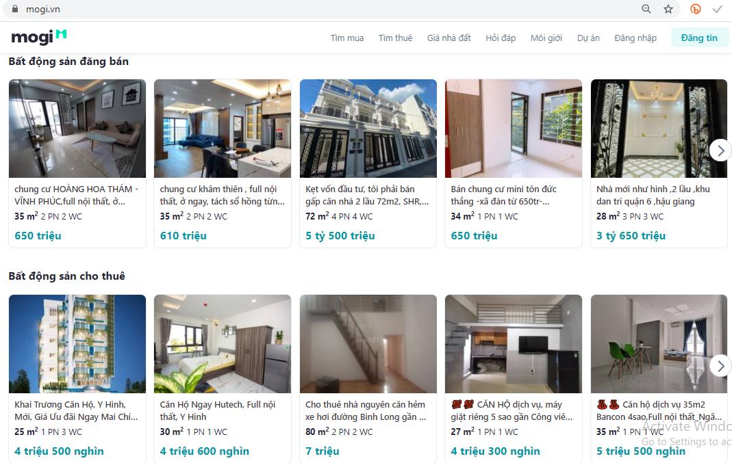 Mogi.vn cung cấp đến khách hàng bộ dữ liệu thông tin giá cả bất động sản chính xác, nhanh chóng và kịp thời nhất.